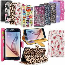 For Samsung Galaxy S6 Diamond Pu Leather Flip Wallet Card Slot Pocket Stand Case