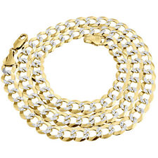 "10k Yellow Gold Solid Pave Flat Curb Cuban Chain 8.50mm Necklace 20"" - 30"""