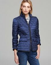 NWT $795 Burberry Brit Nova Check Leather Trim Quilted Jacket Coat Steel Blue