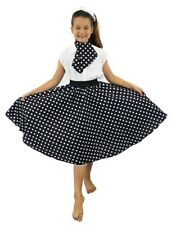 GIRLS 1950'S CIRCLE SKIRT + NECK TIE LONG BLACK & WHITE SPOT FANCY DRESS DANCE