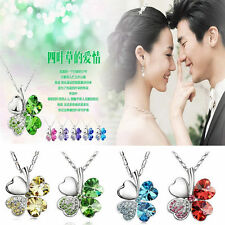 4 Colors Four Leaf Clover Crystal Pendant Silver Plated Fashion Necklace 1pc