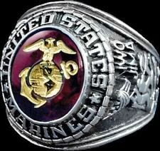 US MARINE CORPS SIGNET RING RHODIUM FINISH RED AUSTRIAN CRYSTAL ETCHED 18K GOLD