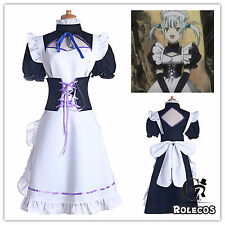 Anime D Gray-man Lolita Maid Housemaid Dresses Cosplay Costume with Big Bownot