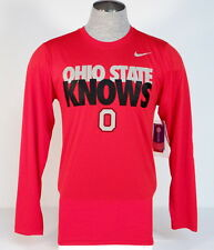 Nike Dri Fit Collegiate Ohio State Knows Red Long Sleeve Athletic Shirt Mens NWT