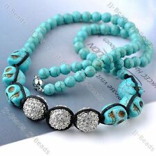 1pc Skull Head Howlite Turquoise Clear Crystal Disco Ball Bead Punk Necklace