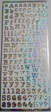 Sheet Silver Holographic Alphabet Number Letter Stickers 10mm High Craft 704h2