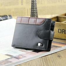 Mens Leather Bifold Clutch Wallet ID Credit Card Slots Coin Purse w/ Buckle J68