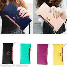 Fashion Women Long Purse Wallet Credit Card Holder Clutch Bag Bow PU Leather