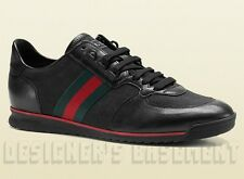 GUCCI Mens* black GG Canvas & Leather red/green Web Sneakers shoes NIB Authentic