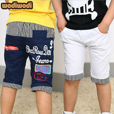 Fashion Kids Boys Girls Letter Striped Trousers Toddlers Canvas Short Pants 2-7Y