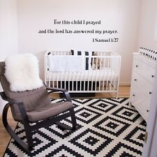 Bible Verse Wall Decal For This Child I Prayed The Lord Word Vinyl Nursery Decor