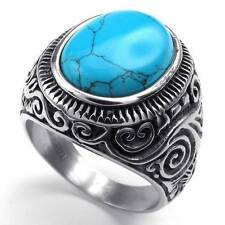 Mens Stainless Steel Turquoise Ring Classic Vintage Blue Silver