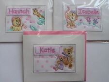 Handmade Personalised Embroidered Girl's Greetings Card by Ekard (Initials H-K)