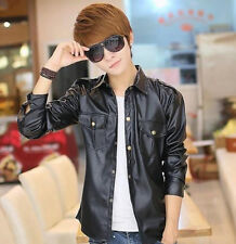 British New Fashion Men's Slim Fit Synthetic leather Motorcycle Jackets Shirts
