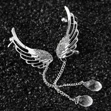Fashion Angel Wing Silver Plated Crystal Chain Drop Dangle Ear Stud Clip Earring