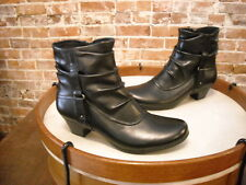 Cobb Hill Black Leather Alexandra Ruched Ankle Boot NEW