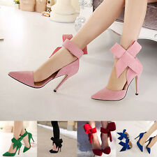Womens Pointed Toe Slim High Heels Stilettos Bowknot Pumps Evening Party Shoes