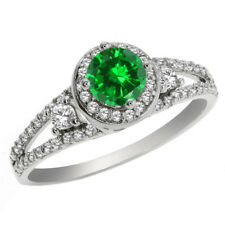 1.78 Ct Round Green Simulated Emerald 925 Sterling Silver Ring