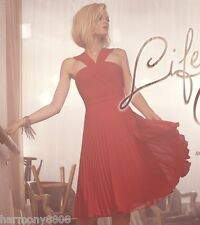 NWT BCBG MAX AZRIA MARIELLE V-NECK PLEATED DRESS $368 ROUGE RED COCKTAIL