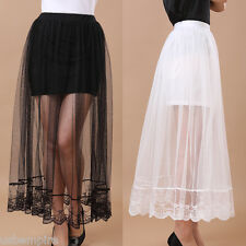 Fashion Summer Women's Sheer Mesh Skirt Elastic Waist Lining Maxi Skirt 2 Colors