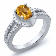 1.21 Ct Oval Checkerboard Yellow Citrine 18K White Gold Ring