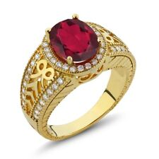 3.12 Ct Oval Red Mystic Quartz 925 Yellow Gold Plated Silver Ring