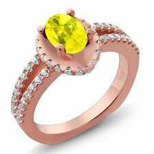 1.31 Ct Oval Canary Mystic Topaz 18K Rose Gold Plated Silver Ring
