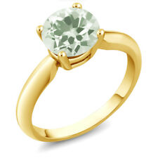 1.70 Ct Round Green Amethyst 18K Yellow Gold Ring