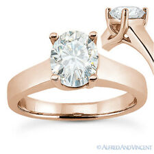 Forever Brilliant Oval Cut Moissanite Solitaire Engagement Ring in 14k Rose Gold
