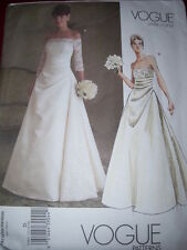 VOGUE #V2842 - LADIES STUNNING ( 2 STYLE ) STRAPLESS BRIDAL GOWN PATTERN 12-22uc