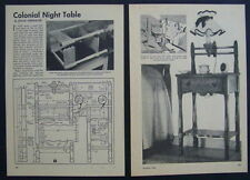 Colonial Night Stand Table w/Lamp How-To Build PLANS