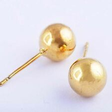 Smooth Ball Earrings Womens Mens IN 9K REAL GOLD FILLED D6145