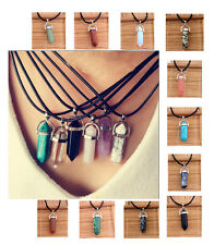 Natural Crystal Topaz Gems Stones Pendant Leather Necklace