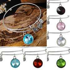 Charm Jewelry Expandable Wire Bangle Bracelet Birthstone Pendant