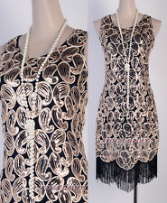 1920's Flapper Party Clubwear Gatsby Abbey Sequin Fringed Gold Dress RD 3239
