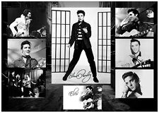 ELVIS PRESLEY SIGNED QUALITY CUSTOM DESIGNED MUSIC PHOTO COLLAGE PHOTOGRAPH