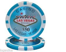 Lot of 25 $50 Las Vegas 14 Gram Poker Chips Low / Free Shipping Options