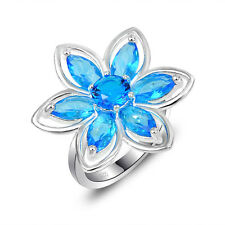 Dazzling Shiny Flower Shaped Titanic Ocean Blue Topaz Gemstone Silver Ring New