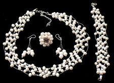 Pearl jewellery set Pearl necklace bracelet earrings + ring full or part set
