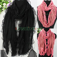 Fashion Lady Knit With Pretty Dot Lace Oblong Scarf/Infinity Loop Cowl Scarf