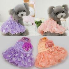 Puppy Dog with Lace Floral wedding dress Cute clothes Small Pet Dress Clothes