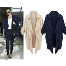 New Ladies Women Loose Open Front Trench Cardigan Jacket Long Coat Top Overcoat