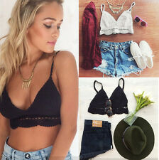 Womens Crochet Lace Bralette Knit Bra Boho Beach Bikini Halter Tank Crop Top