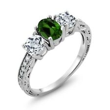 1.92 Ct Oval Green Chrome Diopside White Topaz 925 Sterling Silver Ring