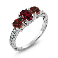 2.12 Ct Oval Red Rhodolite Garnet Red Garnet 925 Sterling Silver Ring