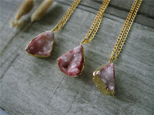 Raw Gemstone Gem Dyed Red Agate Druzy Drusy Pendant Necklace Cluster Gemstone