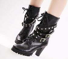 Women Black Genuine Leather Punk Lace Up Rivet Motorcyle Military Combat Boots