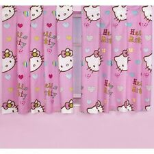 Childrens /Kids Bedroom Girls Hello Kitty Folk Ready Made Curtain /Drapes Set