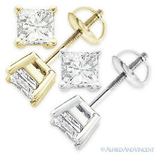 Forever Brilliant 1.50 ct Square Princess Cut Moissanite 14k Gold Stud Earrings
