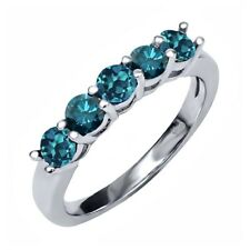 0.90 Ct Round London Blue Topaz Blue Diamond 925 Sterling Silver Ring